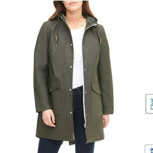 Levi's Hooded Rubberized Faux Leather Anorak Coat